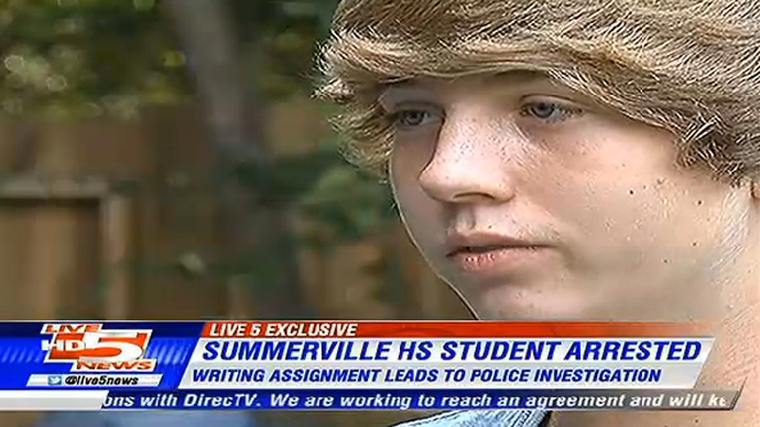 S. Carolina student arrested after writing about shooting a dinosaur