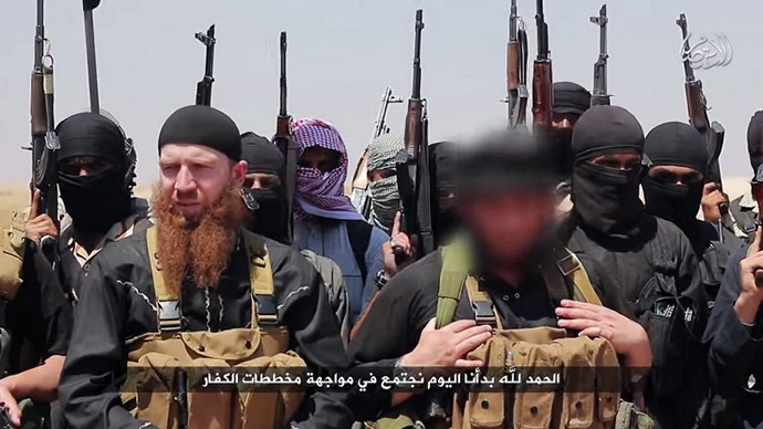 An image made available by Jihadist media outlet, al-Itisam Media, on June 29, 2014, allegedly shows members of the IS (Islamic state) (AFP Photo)