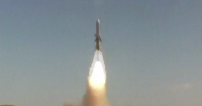 Ghadir missile cruising over sea. Screenshot from APTN video