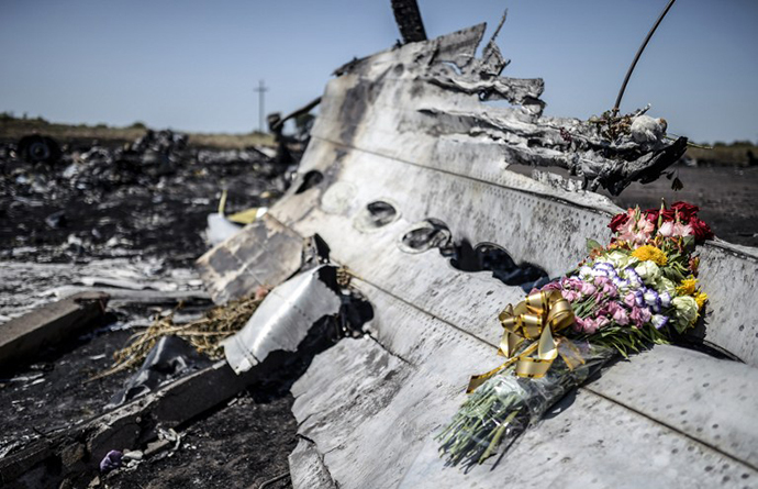 A piece of the Malaysia Airlines plane MH17, near the village of Hrabove (Grabove), in the Donetsk region. (AFP Photo / Bulent Kilic)