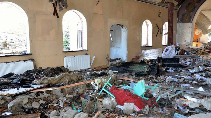 St. John Kronstadt Orthodox Church, destroyed by Kiev troops in the city of Kirovskoye, in the Donetsk Region (Photo from gorlovka-eparhia.com.ua)