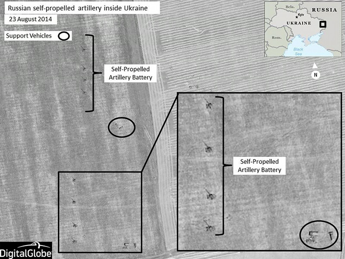A handout photo provided on August 28, 2014 by DigitalGlobe via NATO allegedly shows Russian self-propelled artillery units set up in firing positions, near Krasnodon, Ukraine (AFP Photo / HO / DigitalGlobe)