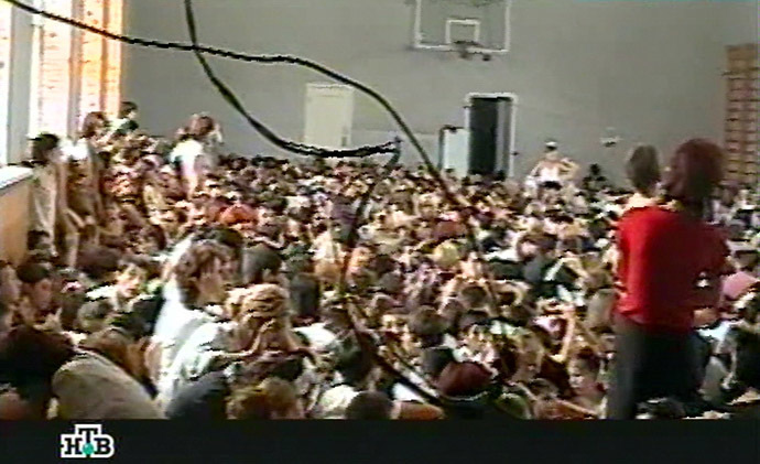 This TV grab image taken from Russian NTV channel 07 September 2004 shows wires and hostages in the gymnasium of the Beslan school, northern Ossetia. (AFP/NTV)