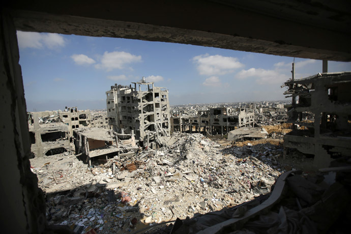 A general view shows houses in the Shejaia neighbourhood that witnesses said were destroyed in an Israeli offensive, after a ceasefire was declared, in the east of Gaza city August 27, 2014. (Reuters/Suhaib Salem)