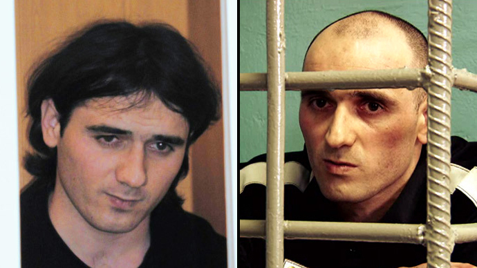 Nurpashi Kulaev during his trial (2006) and in prison (2014) (RIA Novosti / Zaur Farniev; Screenshot from RT's video)