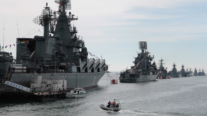 Russian Navy vessels are anchored in a bay of the Black Sea port of Sevastopol in Crimea.(Reuters / Stringer)
