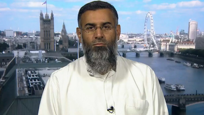 "Radical Islamic thinker, Anjem Choudary, claims one must distinguish between ""pro-life terrorism"", and that which is ""against life."" (Still from RT video)"