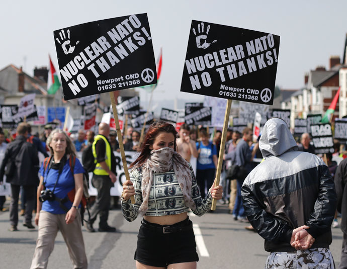 Demonstrators protest against the NATO summit being held at the Celtic Manor resort, near Newport, in Wales September 4, 2014. (Reuters)