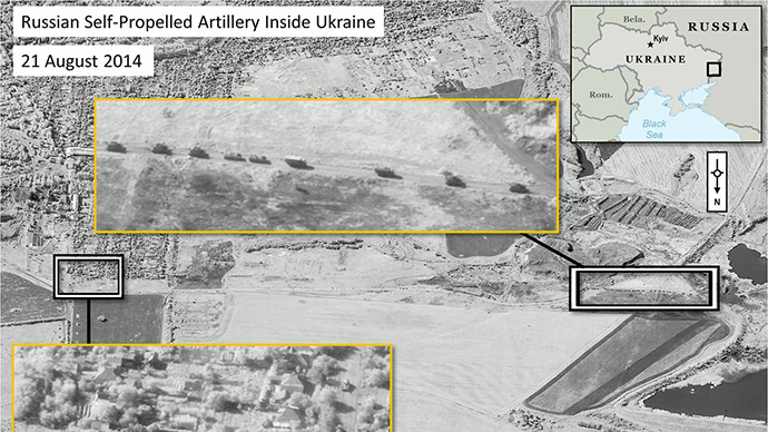 A handout photo provided on August 28, 2014 by DigitalGlobe via NATO allegedly shows Russian military units moving in a convoy formation with self-propelled artillery in the area of Krasnodon, Ukraine (AFP Photo / HO / DigitalGlobe)