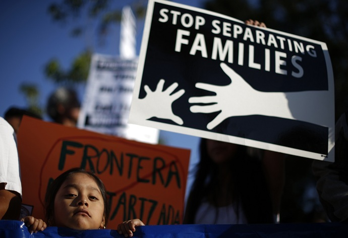 Yoselin Cano, 5, takes part in a vigil for immigrant rights in Los Angeles on August 7, 2014. (Reuters/Lucy Nicholson)