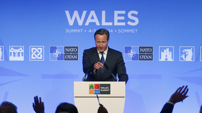 Britain's Prime Minister David Cameron speaks during a news conference on the second and final day of the NATO summit at the Celtic Manor resort, near Newport, in Wales September 5, 2014. (Reuters)