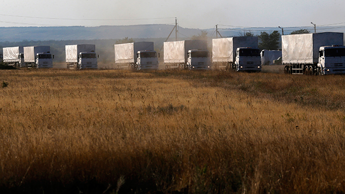 Trucks of a Russian convoy carrying humanitarian aid for Ukraine (Reuters / Alexander Demianchuk)