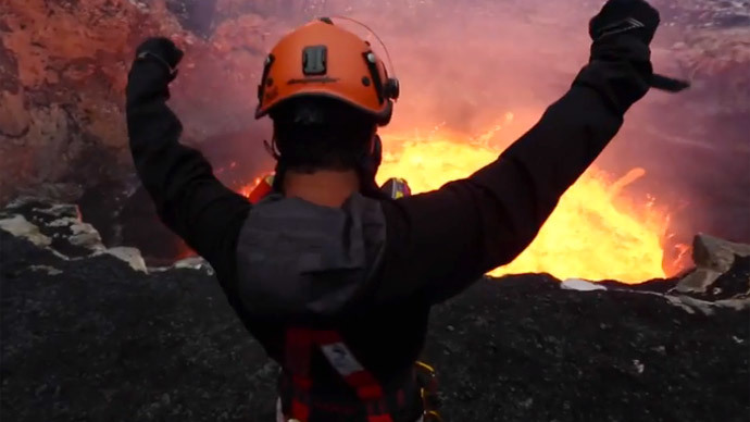 'Window into hell': Death-defying journey into lava filled volcano (VIDEO)