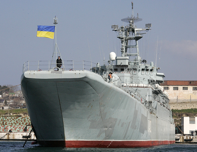 "A crew prepares for the departure of Ukrainian naval landing vessel ""Konstantin Olshansky"" (Reuters)"
