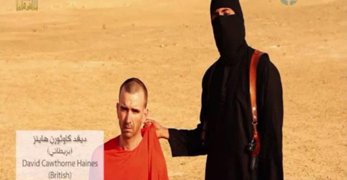 David Cawthorne Haines is shown in the YouTube video of the beheading of journalist James Foley. (A screenshot from a video)