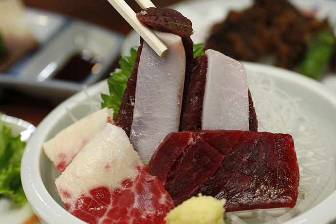 A piece of sliced raw whale meat is pictured in a restaurant in Japan's oldest whaling village of Taiji, 420 km (260 miles) southwest of Tokyo June 2, 2008. (Reuters / Issei Kato)