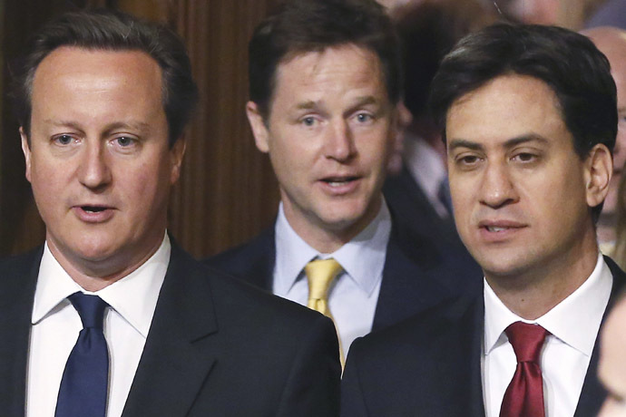 Britain's Prime Minister David Cameron, deputy Prime Minister Nick Clegg and leader of the Labour Party, Ed Miliband. (Reuters/Dan Kitwood)
