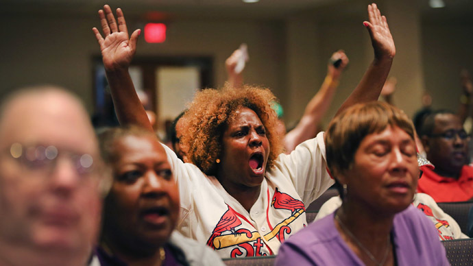 Ferguson public meeting erupts in anger and accusations