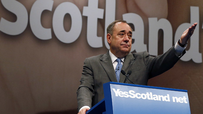 Scotland's First Minister Alex Salmond addresses the International Media Conference at the EICC in Edinburgh, Scotland September 11, 2014. (Reuters/Russell Cheyne)