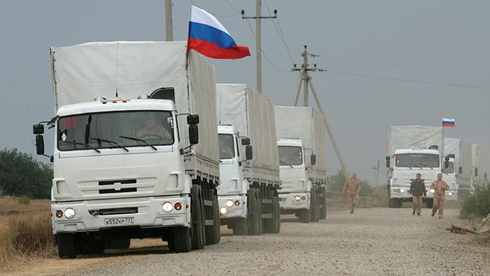 E.Ukraine's Lugansk to start distributing Russian aid Monday, trucks return home
