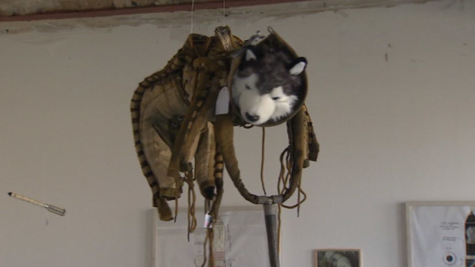 training spacesuit of Belka and Strelka (still from RT video)