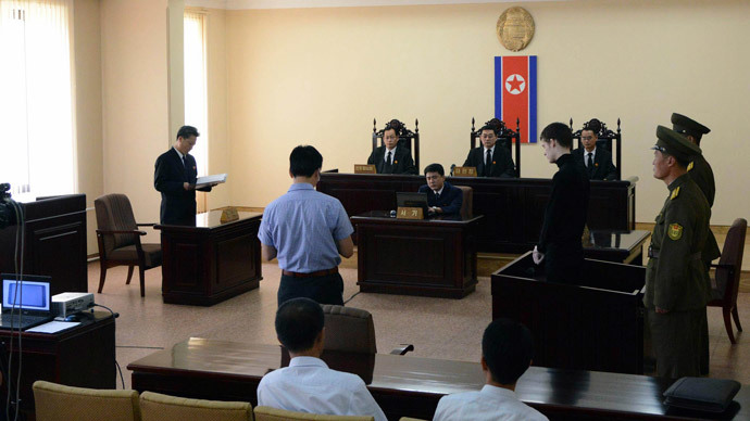 U.S. citizen Matthew Todd Miller (4th R) stands in a witness box during his trial at the North Korean Supreme Court in this undated photo released by North Korea's Korean Central News Agency (KCNA) in Pyongyang September 14, 2014.(Reuters / KCNA)