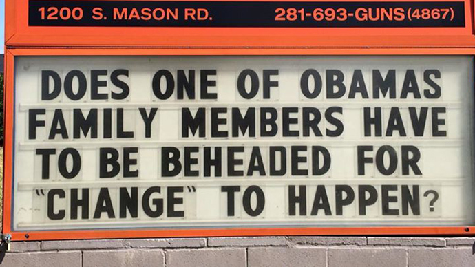 Texas gun shop stirs controversy with 'Obama family beheading' sign