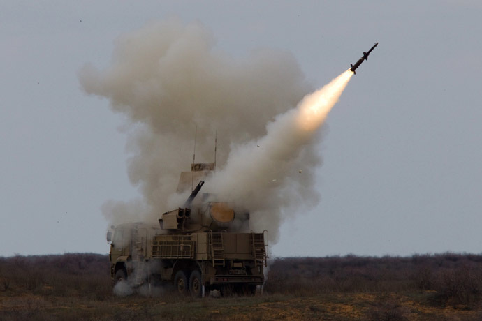 Rocket launch by the Pantsir-S surface-to-air missile system during an exercise (air defense conference) of the Air Defense soldiers. (RIA Novosti/ Mikhail Fomichev)