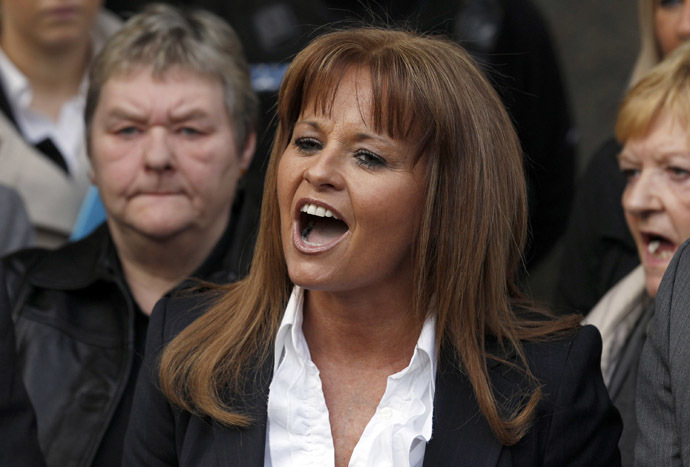 The wife of former Scottish Socialist Party leader Tommy Sheridan, Gail Sheridan. (Reuters/David Moir)