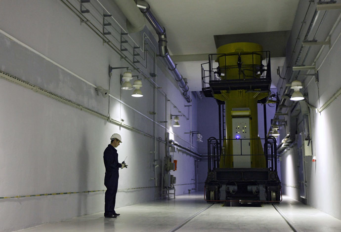 Demonstrating the work of the spent fuel storage of the Mining and Chemical Plant. (RIA Novosti/Alexandr Kryazhev)