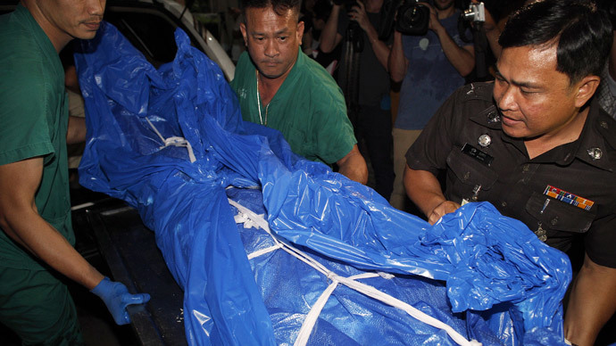 The body of one of the British tourists killed on Koh Tao island arrives at Bangkok's Police Forensic Department September 16, 2014.(Reuters / Athit Perawongmetha)