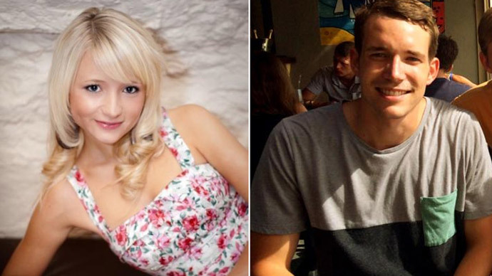 This combination of handout images created from undated images received from Britain's Foreign and Commonwealth Office on September 16, 2014 shows British students, Hannah Witheridge (L) and David Miller (R).(AFP Photo)
