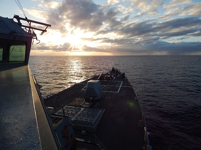 The guided-missile destroyer USS James E. Williams (DDG 95) transits the Atlantic Ocean. (US Navy)