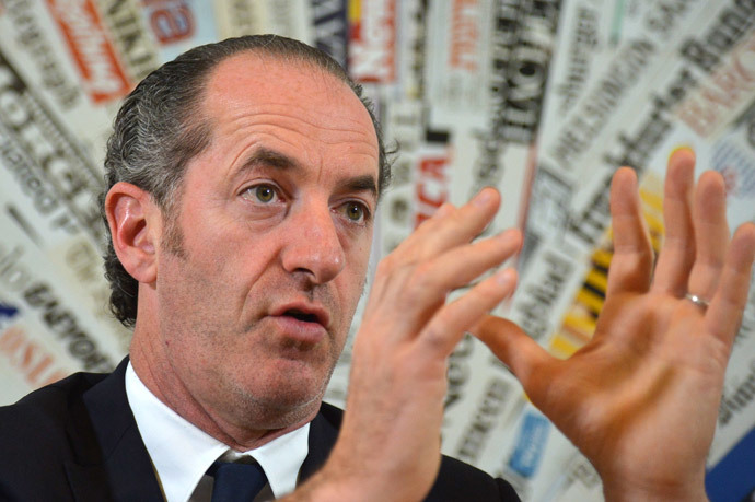 The president of the Veneto region, Luca Zaia gives a press conference on the vote for the independence of the region, on March 19, 2014 in Rome. (AFP Photo / Alberto Pizzoli)