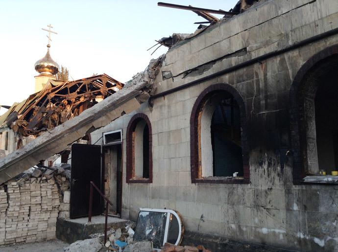 Saint John of Kronstadt (Ioann Kronshtadsky) Church destroyed during a bombardment in the town of Kirovskoye, Donetsk Region. (RIA Novosti)