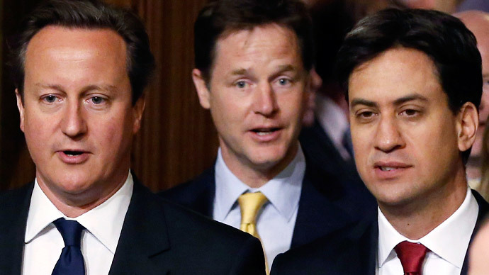 Britain's Prime Minister David Cameron (L), deputy Prime Minister Nick Clegg (C) and Ed Miliband. (Reuters / Dan Kitwood )