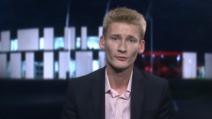 Peter Kofod Poulsen of the Danish People's Party (Screenshot from RT video)