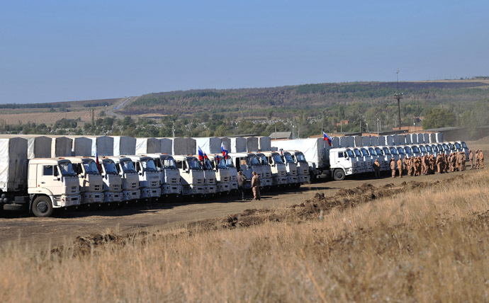 Russia's third humanitarian aid convoy is prepared to be sent to the southeast of Ukraine on a testing site in the town of Kamensk-Shakhtinsky, Rostov Region. (RIA Novosti/Sergey Pivovarov)