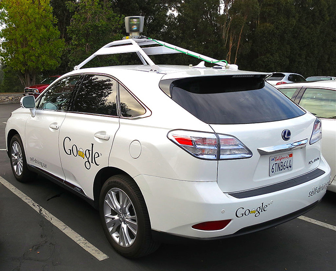 Lexus RX450h retrofitted as a Google driverless car (Image from wikipedia.org)