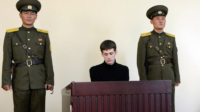 U.S. citizen Matthew Todd Miller sits in a witness box during his trial at the North Korean Supreme Court in this undated photo released by North Korea's Korean Central News Agency (KCNA) in Pyongyang September 14, 2014 (Reuters / KCNA)