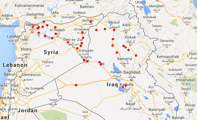 ISIS-controlled places (Google Maps)
