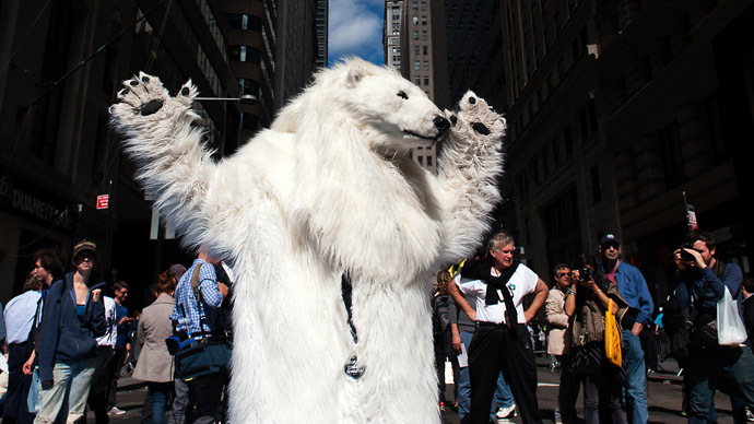 'Polar bear' arrested at #FloodWallStreet protest