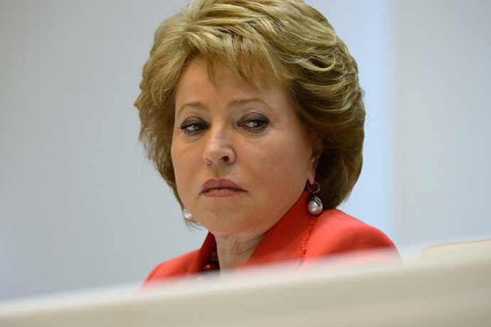 Valentina Matviyenko, Speaker of the Federation Council, attending the Federation Council meeting. (RIA Novosti/Maksim Blinov)