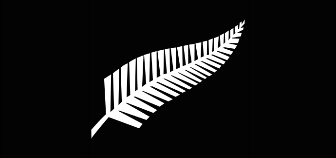 A Silver Fern flag, a proposed new New Zealand flag (image from wikipedia.org by Bamse)