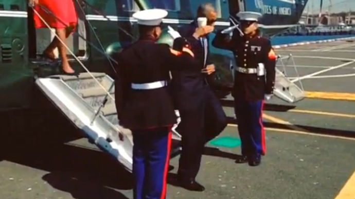 #LatteSalute: Obama under fire for saluting marines with coffee cup in hand