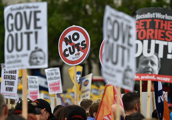 Striking public sector workers protest in Trafalgar Square in central London July 10, 2014 (Reuters)