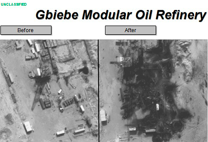 Before and after aerial pictures released by the U.S. Department of Defense September 25, 2014, show damage to the Gbiebe Modular Oil Refinery in Syria following air strikes by U.S. and coalition forces (Reuters / HO)