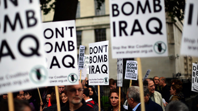 'Don't bomb Iraq & Syria!' Stop the War protests at Downing Street