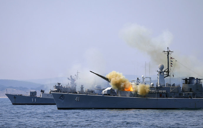 "A missile is launched from the Bulgarian navy frigate ""Drazki"" during BREEZE 2014 military drill in the Black Sea July 11, 2014. (Reuters/Stoyan Nenov)"
