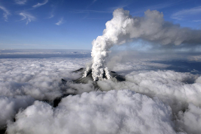 Volcanic smoke rises from Mount Ontake, which straddles Nagano and Gifu prefectures, central Japan, September 27, 2014, in this photo taken and released by Kyodo. (Reuters/Kyodo)